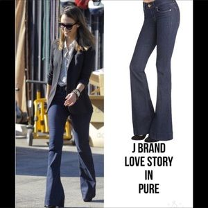 J BRAND Love Story Flare Jeans in Dark Pure Wash
